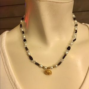 Handmade Black Beaded & Faux Pearl Necklace